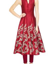 Buy maroon embrodered raw silk kurti for women kurtas-and-kurti online