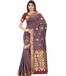 Buy Grey Zari Worked Art Silk Saree With Blouse art-silk-saree online