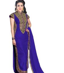 Buy Blue benglori embroidered unstitched salwar with dupatta dress-material online