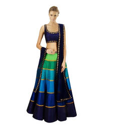Buy Blue and green and navy blue georgette unstitched lehenga choli lehenga-choli online