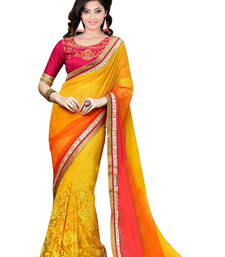 Buy multicolor embroidered net saree With Blouse wedding-saree online
