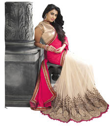 Buy Pink & Cream  embroidered georgette saree With Blouse wedding-saree online
