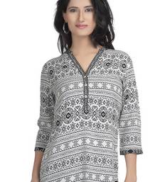 Buy White floral print rayon tunic tunic online