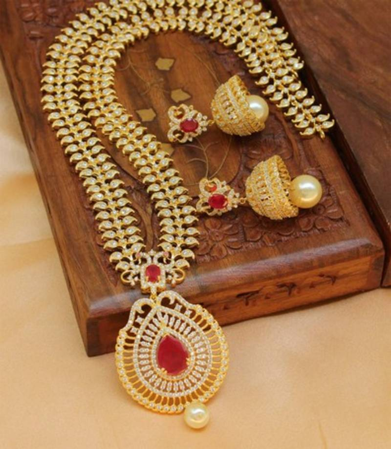 Designer Indian Earrings: Buy Designer High Gold Plated Long Necklace Set With