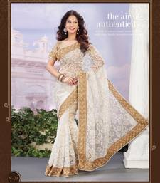 Buy white embroidered pure tissue saree With Blouse tissue-saree online