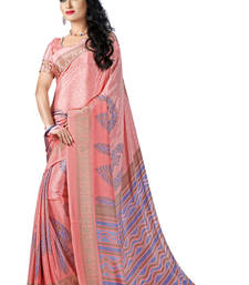 Buy light pink printed crepe saree With Blouse crepe-saree online