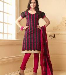 Buy Designer Black & Pink Chanderi Cotton Salwar salwars-and-churidar online