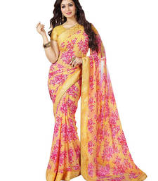 Buy Mustard printed georgette saree With Blouse ayesha-takia-saree online