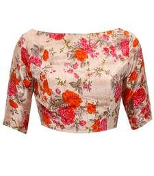 Buy Cream embroidered unstitched blouse blouse-fabric online