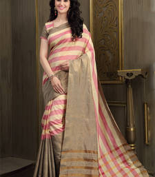 Buy Baby Pink and Cream printed cotton saree With Blouse cotton-saree online