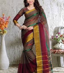 Brown and Maroon printed cotton saree With Blouse shop online