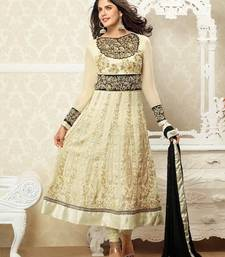 Buy Sizzling cream &black designer anarkali suit congratulation-gift online