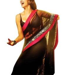 Buy Party ware Fancy Latest Bollywood Deepika padukone YJHD  Black Saree chiffon-saree online