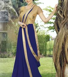 Buy Royal blue georgette embroidered semi stitiched party wear gown party-wear-gown online