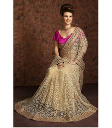 Buy off white embroidered pure net saree With Blouse bridal-saree online