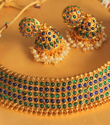 Buy Gorgeous goldplated blue-green bridal choker necklace set necklace-set online