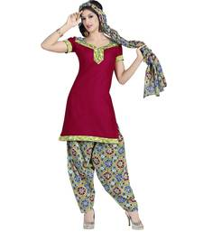 Buy Maroon printed cotton unstitched salwar with dupatta dress-material online