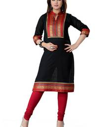 Buy Black cotton plain kurti cotton-kurti online