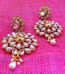 Buy Pearl flower ad stone kundan earring n101 anniversary-gift online