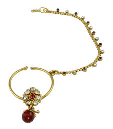 Buy Red Polki Stones Nose Ring Nath Jewellery for Women - Orniza nose-ring online