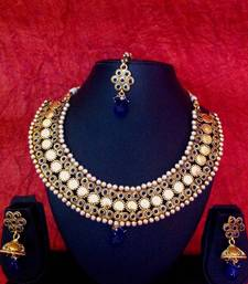 Buy Ginni Lakshmi coin motif in blue stones south indian temple collection pearl bridal necklace set j28b necklace-set online