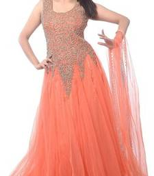Buy Orange Net embroidered semi stitiched party wear gown party-wear-gown online