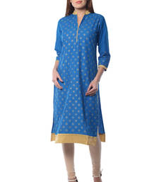 Buy Blue Cotton Block Print kurti cotton-kurti online