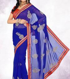 Buy Latest Party Wear Royal Blue Color Faux Chiffon Saree with Blouse chiffon-saree online
