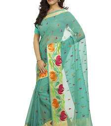 Buy sea green embroidered cotton saree With Blouse kota-silk-saree online