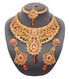 Buy Orange antique gold necklace-sets necklace-set online