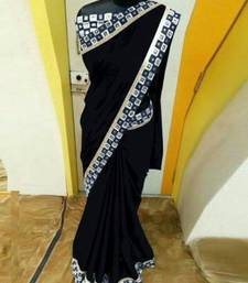 Buy black plain georgette saree with blouse online