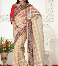 Buy Unique Look Beige Color Tissue Jacquard Designer Saree With Blouse jacquard-saree online