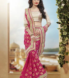 Buy hot pink hand woven pure viscose saree With Blouse heavy-work-saree online