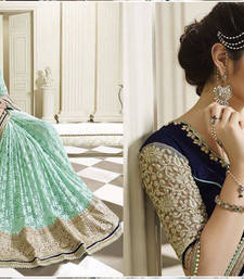 Buy light teal embroidered net saree With Blouse half-saree online