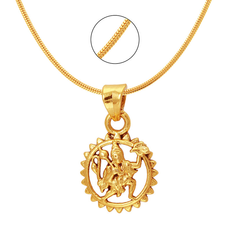 buy hanuman gold plated religious god pendant with chain