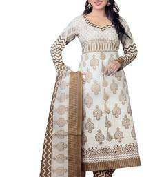 Buy White printed cotton unstitched salwar with dupatta dress-material online