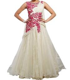 Buy White net embroidered semi stitiched party wear gown party-wear-gown online