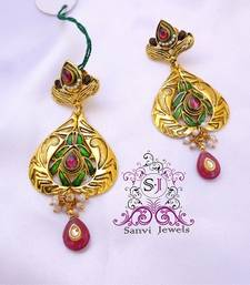 Kundan Meena Textured Earrings shop online