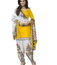Buy Yellow printed polyester unstitched salwar with dupatta dress-material online
