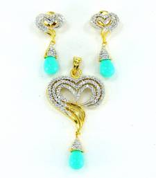 Buy Heart shaped beautiful CZ pendent set, Pendant online