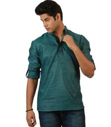 Buy Blue plain linen men kurtas men-kurta online