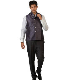 Buy Purple plain blended fabric nehru jacket gifts-for-boyfriend online