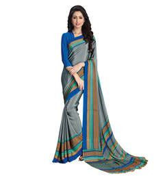 Buy Anjali Grey Printed Crepe saree With Blouse crepe-saree online