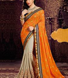 Buy orange embroidered faux georgette saree With Blouse georgette-saree online