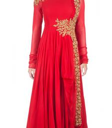 Buy Red georgette embroidered semi stitched party wear gown party-wear-gown online