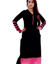 Buy Black  cotton plain semi stichhed kurti cotton-kurti online