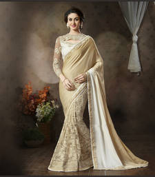 Buy beige embroidered jacquard saree With Blouse designer-embroidered-saree online