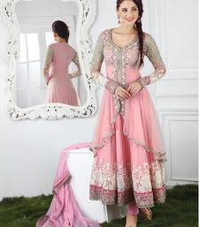 Buy Light pink georgette embroidered semi stitiched salwar with dupatta party-wear-salwar-kameez online