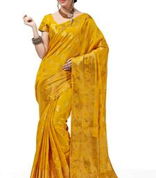 Buy dark yellow woven cotton silk saree With Blouse south-indian-saree online