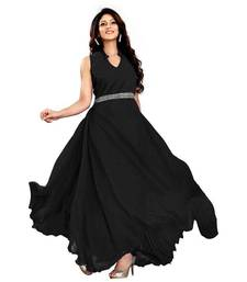 Buy Black georgette Plain semi stitiched party wear gowns party-wear-gown online